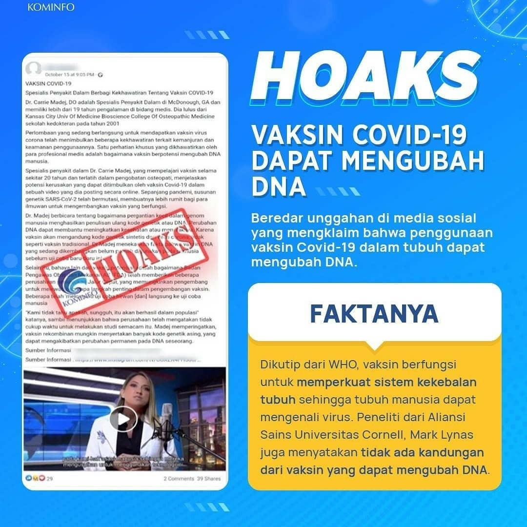 Hoaks Vaksin Covid-19 Dapat Mengubah DNA